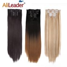 """Alileader 6 Teile/satz 22 """"Haarteil 140G Gerade 16 Clips In Falsche Styling Haar Synthetische Clip In Haar Extensions hitze Beständig"""