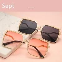 sept luxury metal frame sunglasses pearl square men women fashion shades vintage uv400