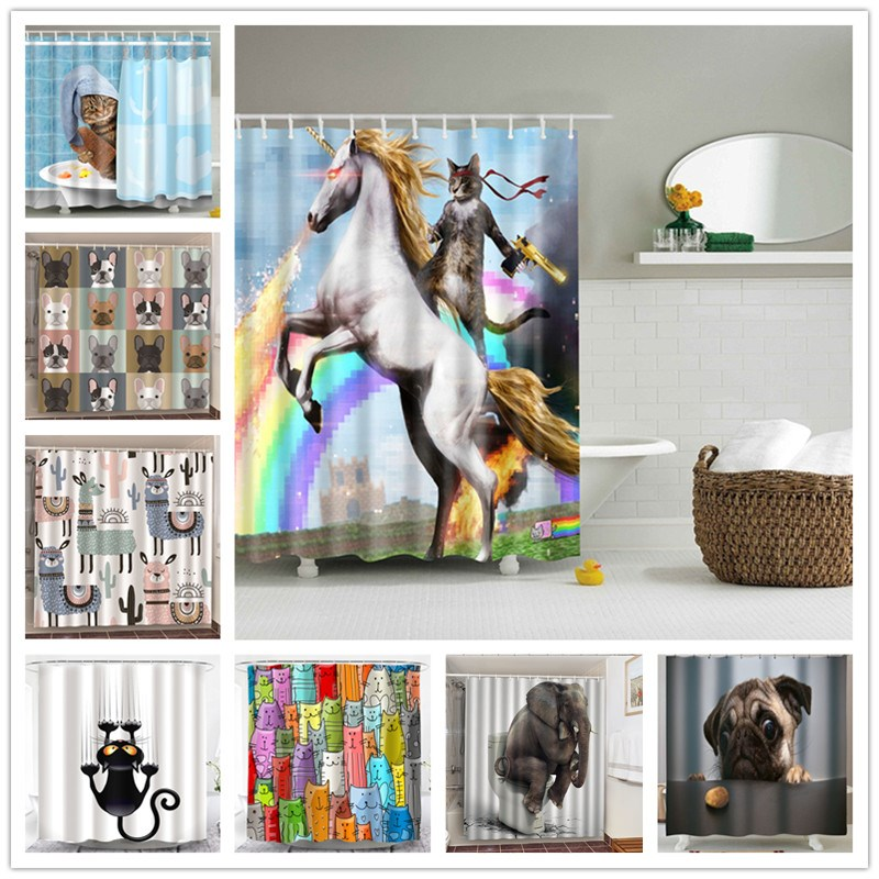 Adventures Of Unicorn And Cat Printed Shower Curtains Bath Product Bathroom Decor with Hooks Waterproof Blackout Bath Curtains