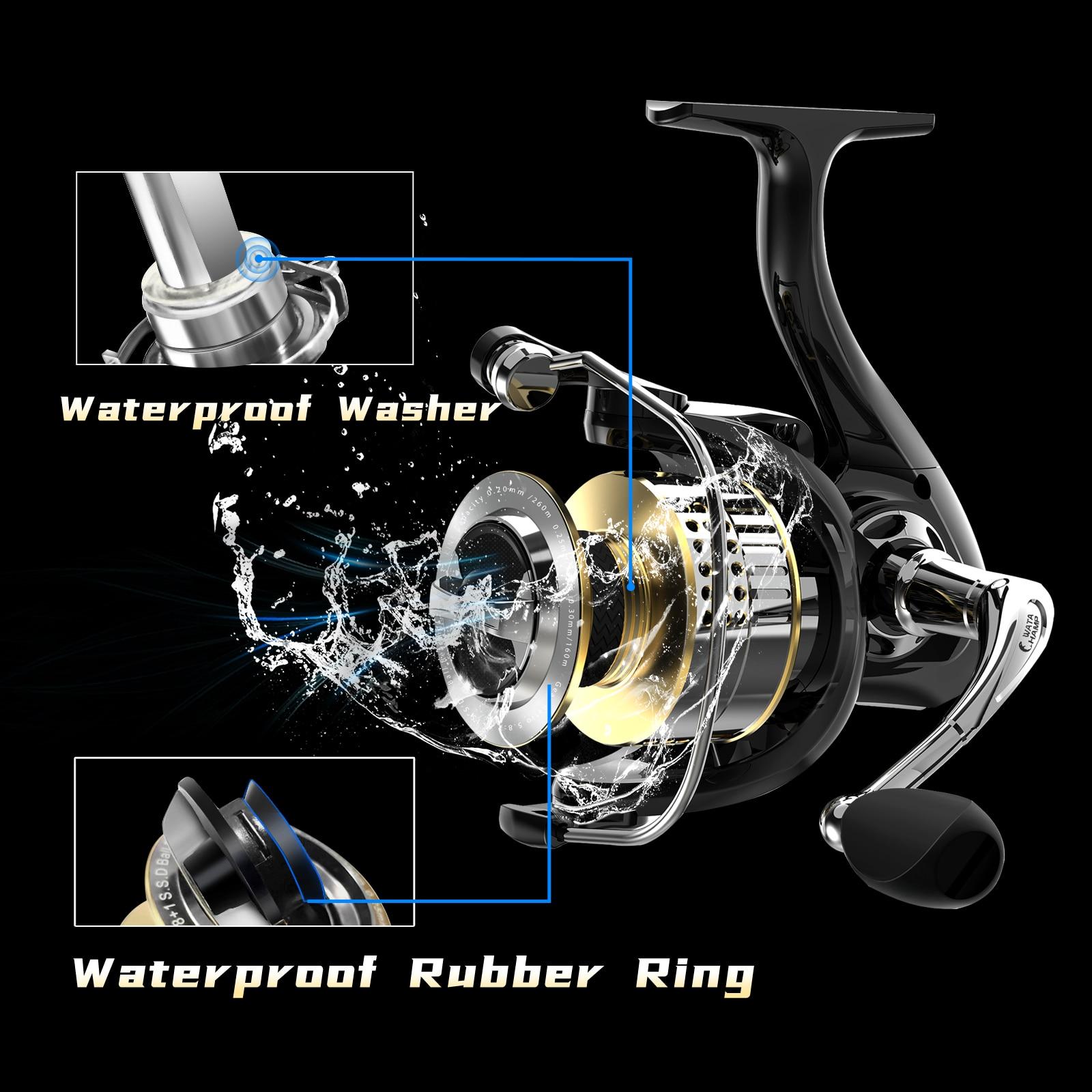 WataChamp Shield Fishing Reel, 8+1 Stainless Steel Ball Bearings 20 kg Drag Carbon Fiber Drag for Bass Saltwater Fishing Coil enlarge
