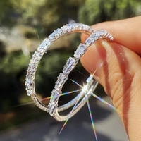 hot shiny cz stone circle earrings for women simple wedding party engagement womens hoop earring trendy jewelry gift