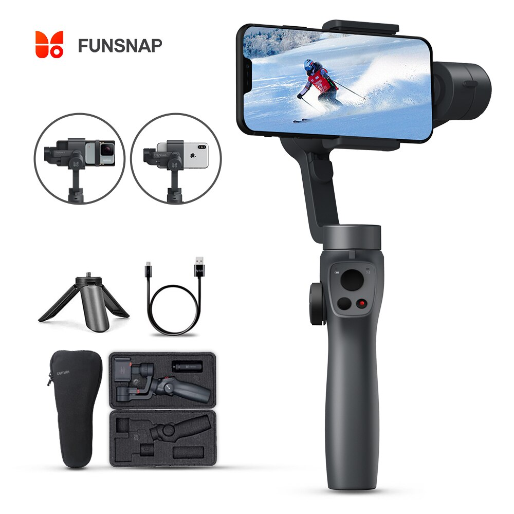 Funsnap Capture2 3 ejes de mano Gimbal estabilizador para Smartphone Samsung Iphone X XR 8 7 Gopro Cámara de Acción EKEN 1 cardán Kit