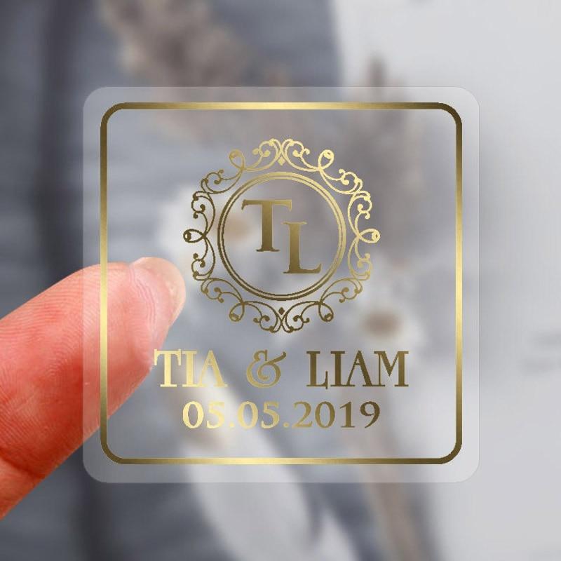 100 шт./лот персонализированные пользовательские наклейки с логотипом прозрачная Золотая фольга серебряные бизнес логотип наклейки свадебн...