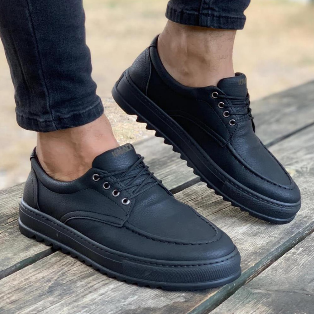 Knack Men's Shoes Black Color (Black Base) Casual Sneakers Lace Up Closure Faux Leather Lighted Daily Solid Matte Original Shoes High Quality Luxury Brand Sport Boys Shoes Basketball Shoes Suits Dress Free Shipping T12