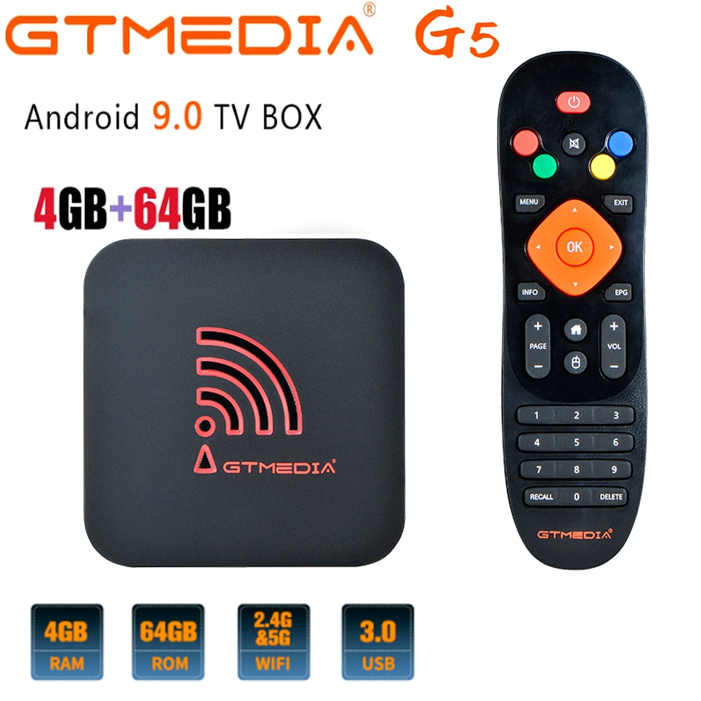 G5 أندرويد 9.0 مربع التلفزيون الذكية 2.4G واي فاي رباعية النواة 4K 1080P كامل HD Netflix مشغل الوسائط Amlogic S905X2 4GB + 64GB ROM فك التشفير