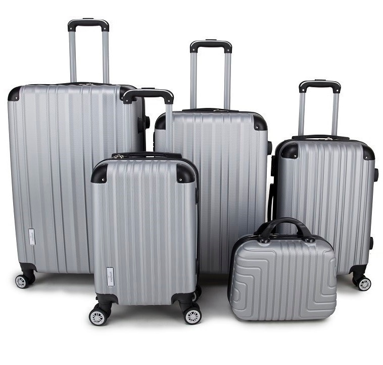 "aliexpress.com - Set of 5 suitcases elegant design, 4 swivel wheels, travel luggage 100% ABS sturdy suitcase 20 ""26"" 29 ""safety lock"