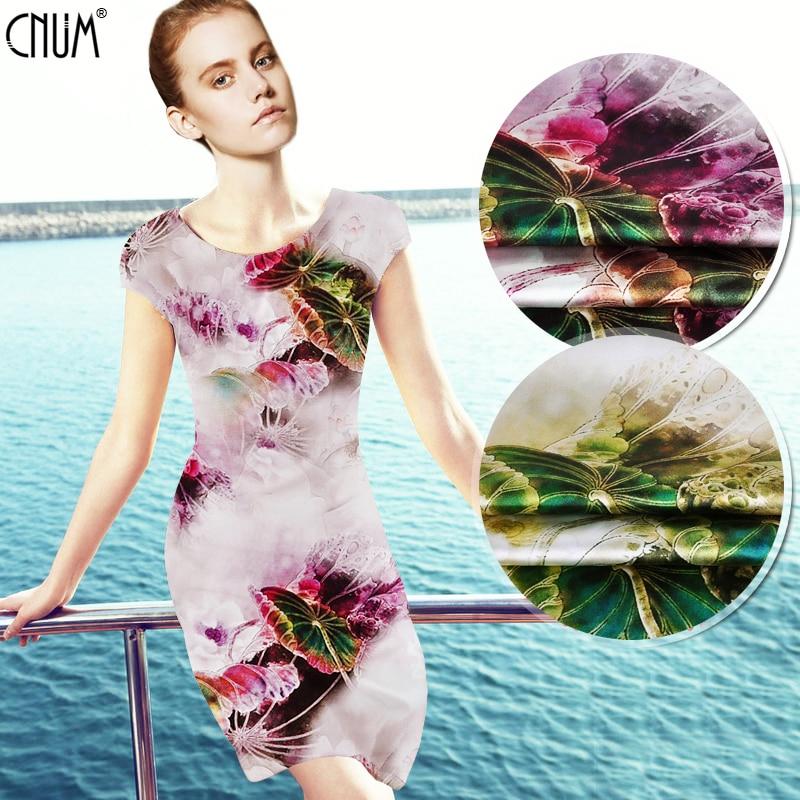 CNUM SP579 Pure Silk/Lotus in the Dream/Silk Fabric 93% Silk 7% Spandex Elastic/Width 1.20yd Thickness 19mm