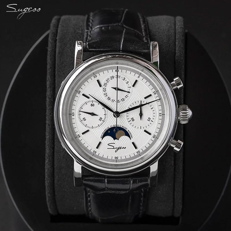 حركة النورس ST1908 Sugess الرجال التقويم الميكانيكية ساعة كرونوغراف خمر Moonphase ساعة اليد مقاوم للماء