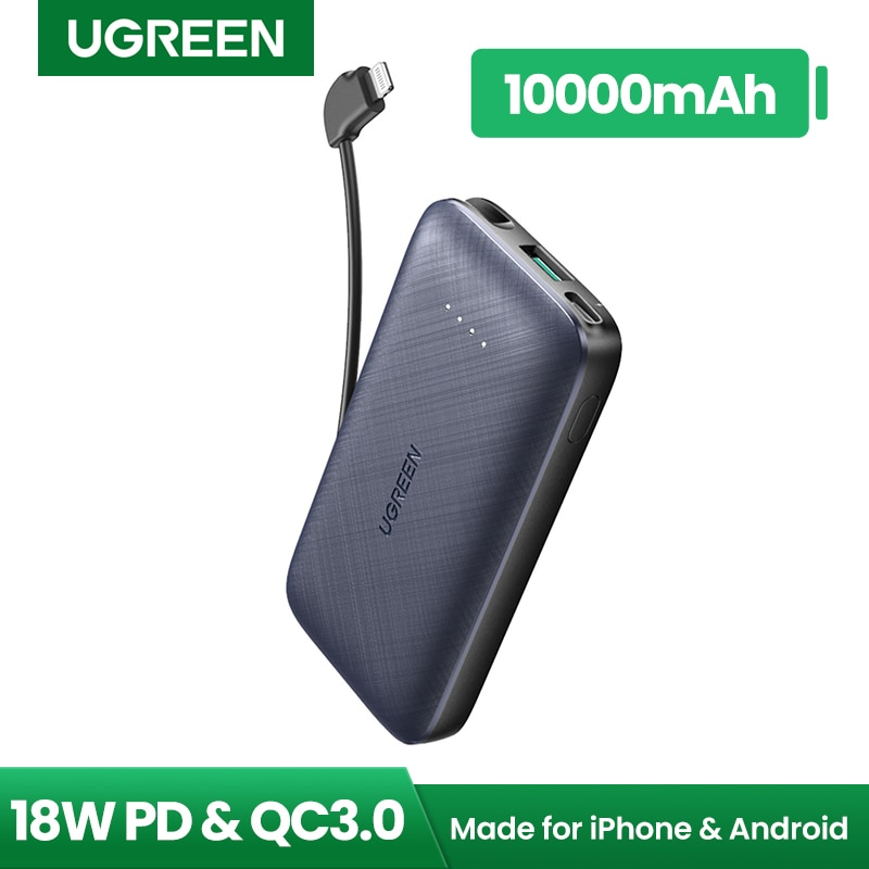 Ugreen Power Bank 10000mAh with MFi Lightning Cable Fast Phone Charger for iPhone 12 11 8 External B