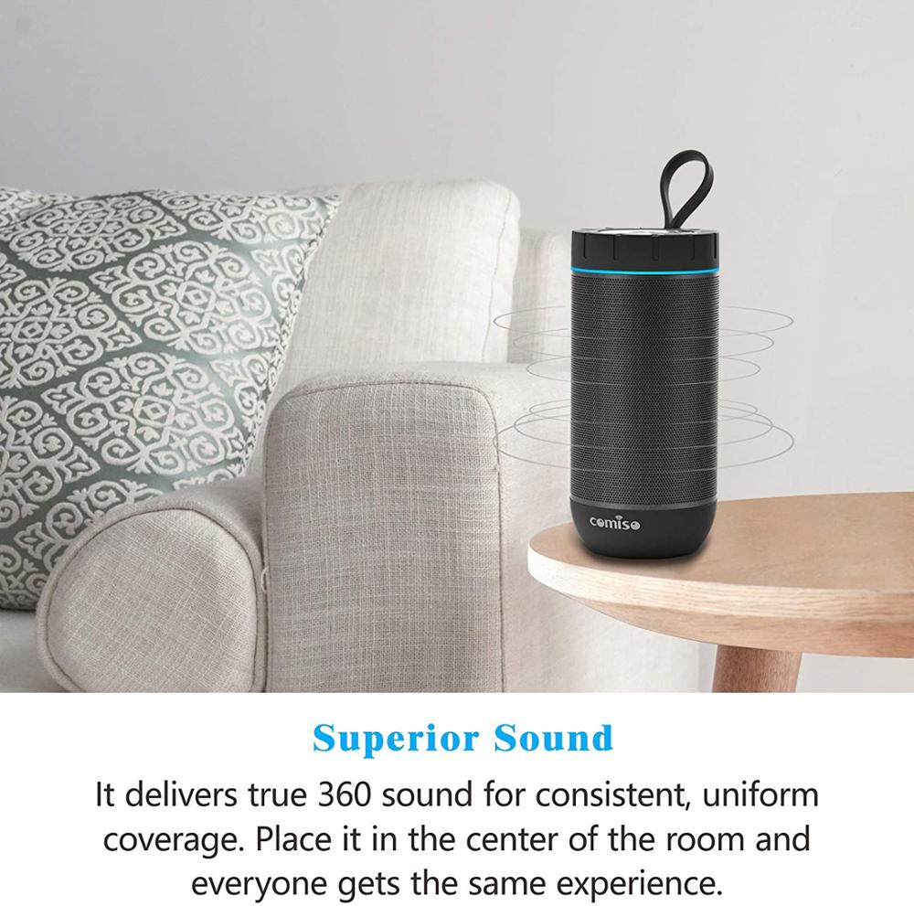 COMISO Waterproof Bluetooth Speakers Outdoor Wireless Portable Speaker with 20 Hours Playtime Superior Sound Beach Sports Party enlarge