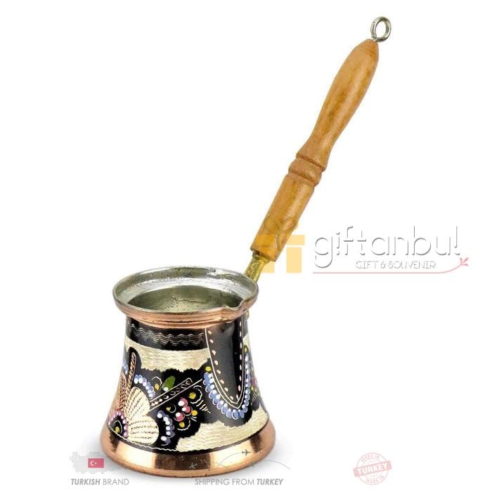 Cafetera de cobre turco hecha a mano de diseño tradicional mango de madera grabado con incrustaciones de café árabe otomano tazas de café Espresso