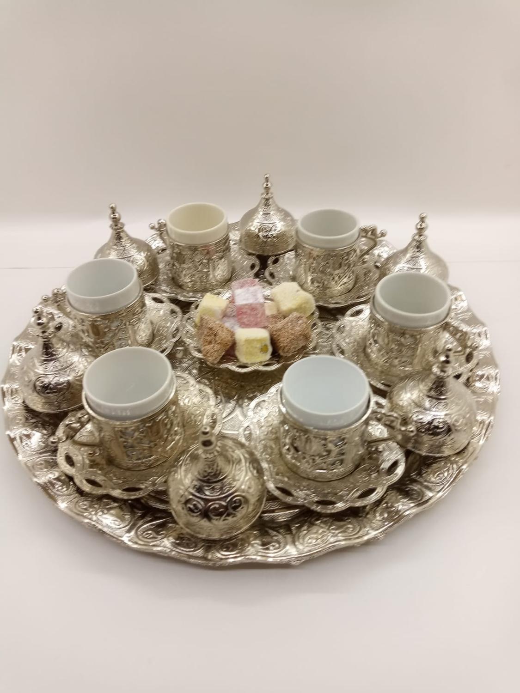6 cups Set Ottoman Turkish copper coffee pot set made in turkey arabic coffee cup set in traditional Anatolian Turkish coffee c недорого