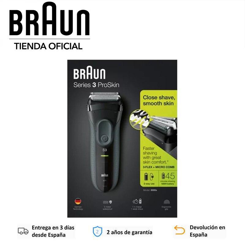 Braun Series 3 ProSkin 3000s Afeitadora Eléctrica Recargable Inalámbrica Corte triple acción, IPX7, MicroComb, Láminas SensoFoil