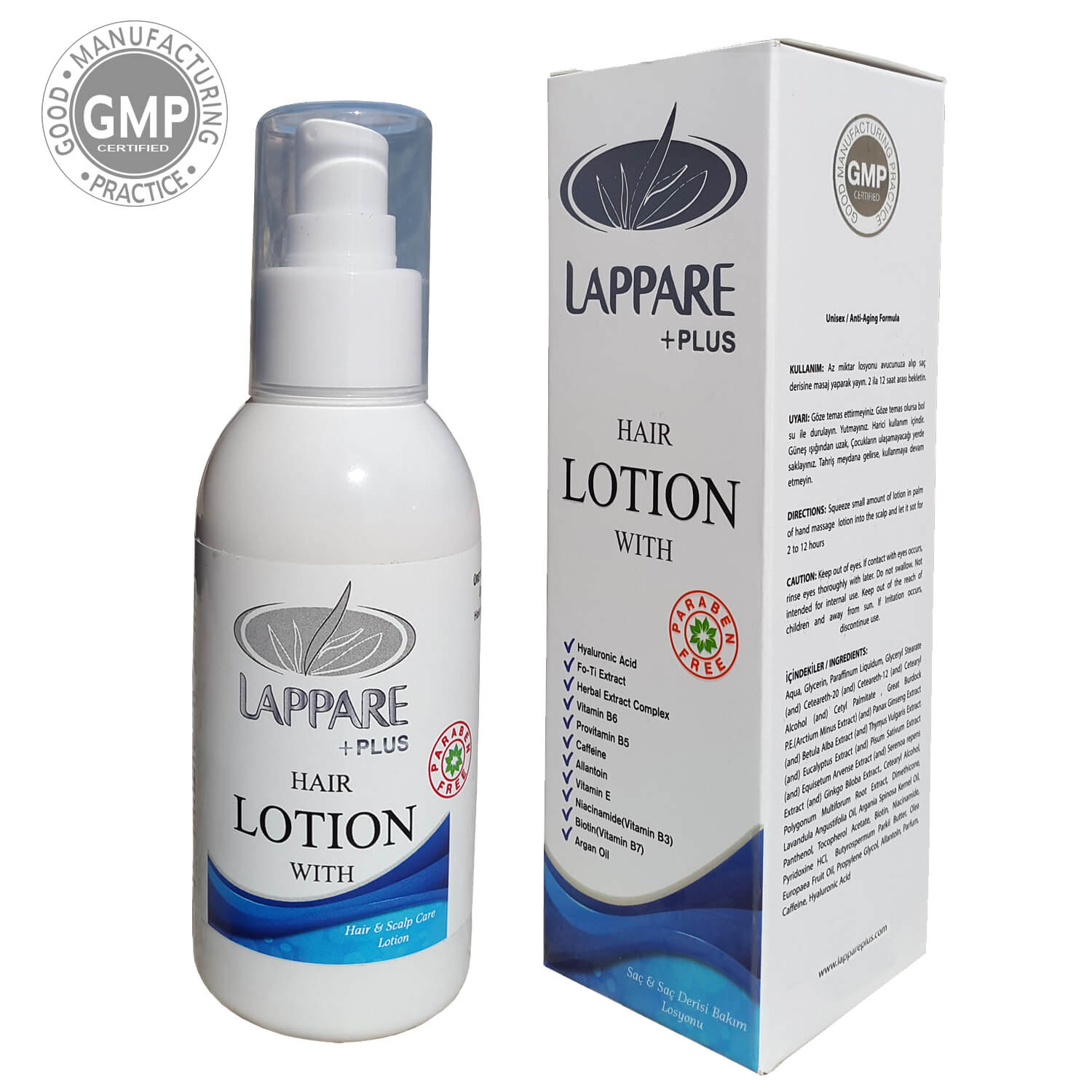 Lappare Herbal Hair & Scalp Treatment Anti-Aging Lotion Containing Keratin, Biotin, Hyaluronic Acid, Argan Oil 125ml.