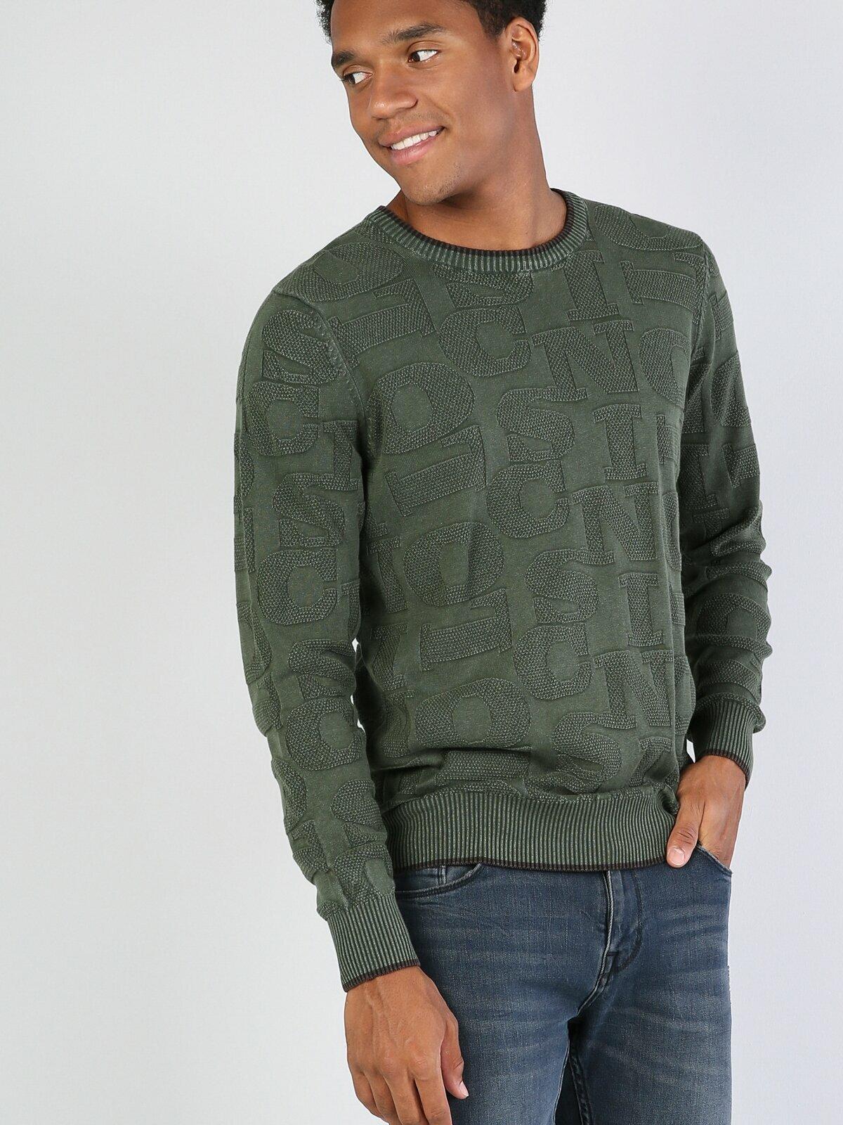 Colins Men Regular Fit Khakı Sweaters Men's sweater fashion sweater outerwear,CL1028266
