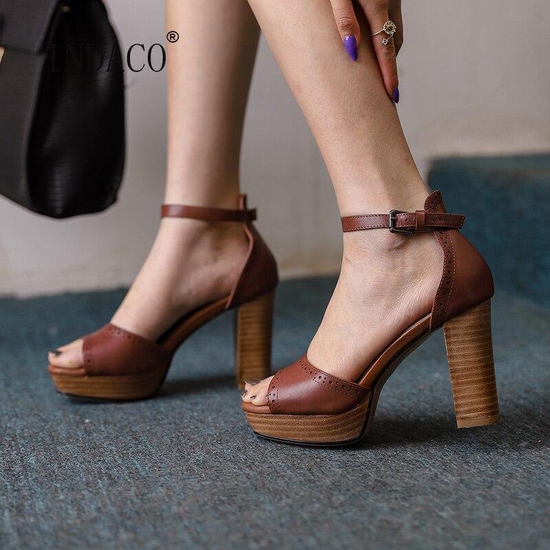 صنادل النساء 2021 اللمحة تو صنادل أرضية جلد طبيعي أسود براون أحذية الصيف امرأة 10.5 سنتيمتر 33-40