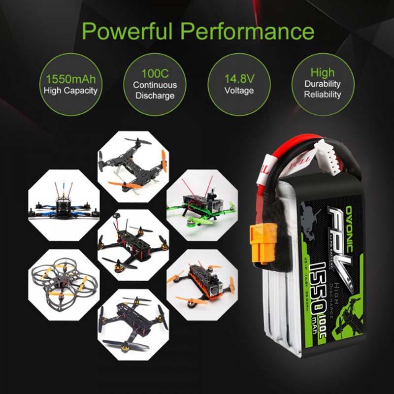OVONIC 14.8V 1550mAh 4S 100C LiPo Battery Pack with XT60 Plug for FPV Freestyle FPV racing 1PCS 4 PCS enlarge