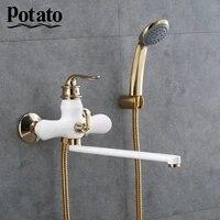 Pomme de terre Chrome salle de bain robinet eau chaude et froide sortie tuyau bain melangeur avec ABS pomme de douche 3 couleurs p22219-