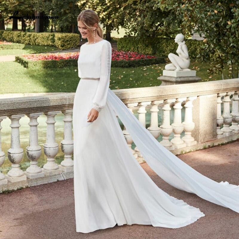 Lakshmigown-vestido de novia con espalda abierta, romántico, de manga larga, sencillo, bohemio,...