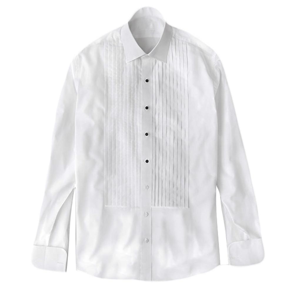 قميص سهرة أنيق يرتديه مع ترصيع أفضل أربعة أزرار قابلة للإزالة قمصان سهرة رسمية لحفلات الزفاف قمصان مصنوعة حسب الطلب مطوي من الأمام