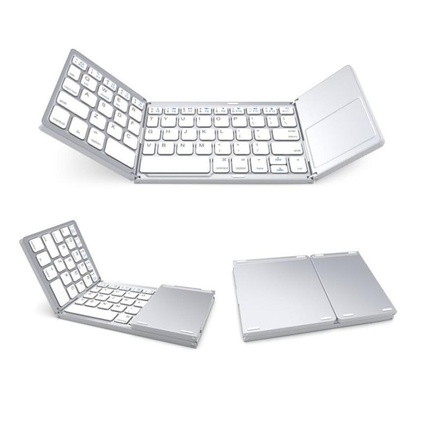 لوحة مفاتيح بلوتوث لاسلكية صغيرة قابلة للطي ، مع لوحة لمس ، قابلة لإعادة الشحن ، قابلة للطي ، لنظام التشغيل Windows ، Android ، IOS ، iPad ، PC