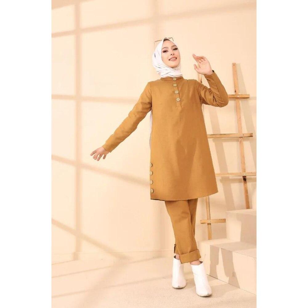 Комбинированные брюки-туника, Женская скромная одежда, женское платье-хиджаб, модная одежда aba