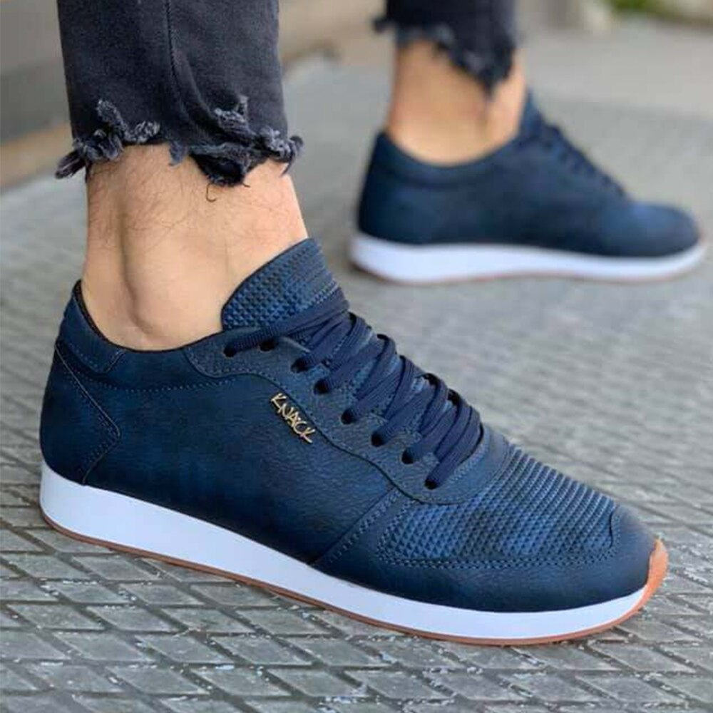 Knack Casual Men's Shoes Scalloped Navy, Sport Casual Lace-up Summer 2021 Fashion Stylish Running Men's Summer Wear for Teens Men Shoes Non-Leather Casual Shoes Luxury Shoes Sneaker Summer Shoes Man Shoes Vip Shoes 002