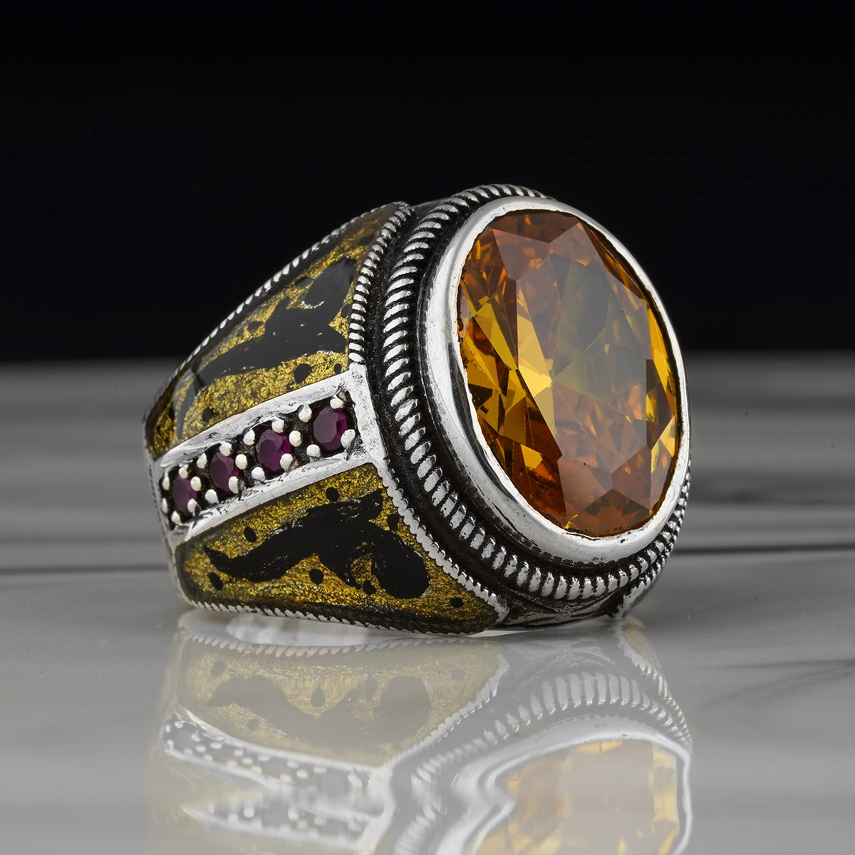 Ring for Men Jewelry  Citrine Stone Jewelry Fashion Vintage 925 sterling silver rings All Sizes Are Available, Super Deals
