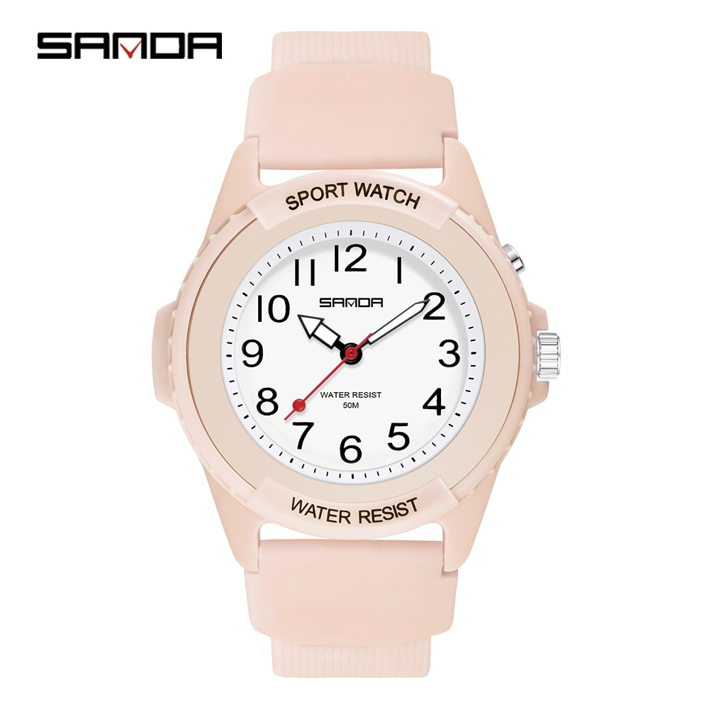 SANDA Women's Watch Hot Sale Quartz Movement Unisex Watches Luminous LED Ladies Watch Simple Dial Wristwatch Reloj Mujer