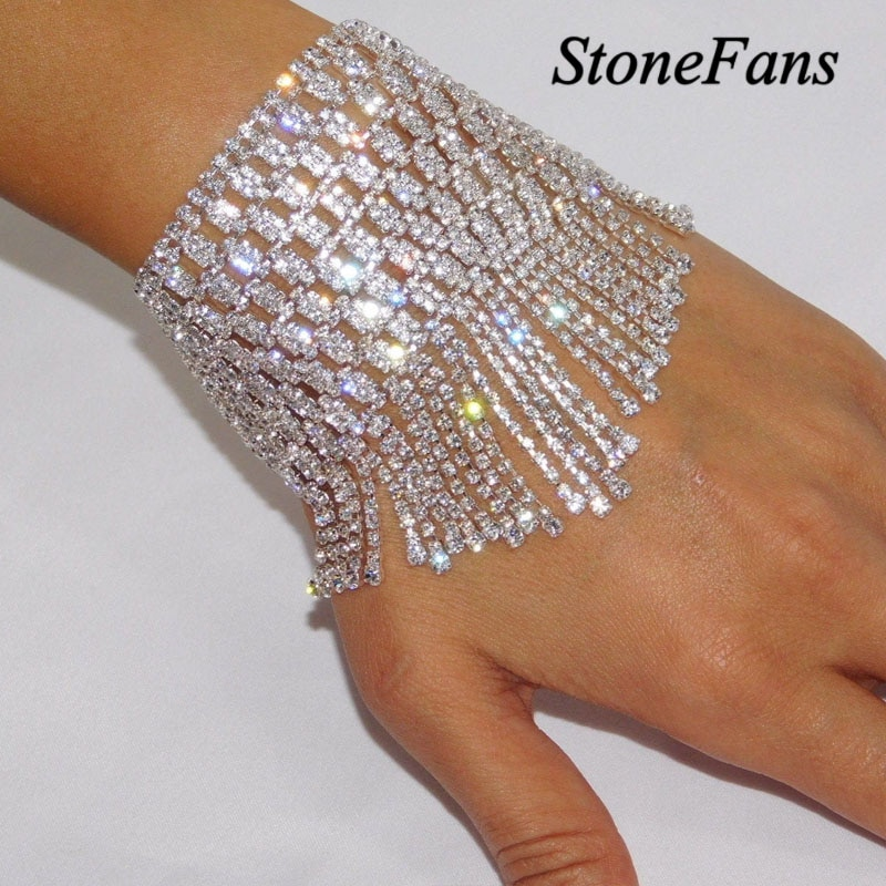 Stonefans Designer Jewelry Luxury Bracelet Charms Crystal Chain for Women Multilayer Tassel Bracelet Bride Wedding Jewellery