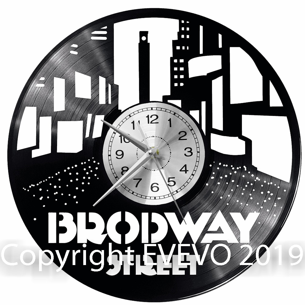 Broadway zegar ścienny winyl płyta winylowa zegar retro Handmade prezent vintage styl pokój dekoracje domu świetny prezent