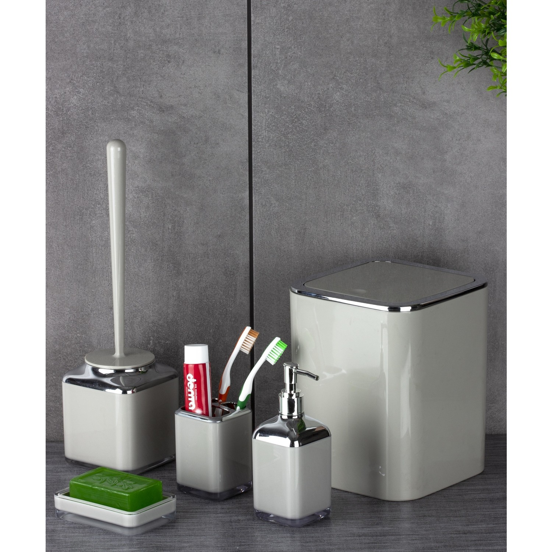 OceanLand Double Printed Square Chrome 5 Piece Bathroom Set Hard Plastic Toothbrush Holder Soap Dispenser Toilet Brush Dustbin enlarge