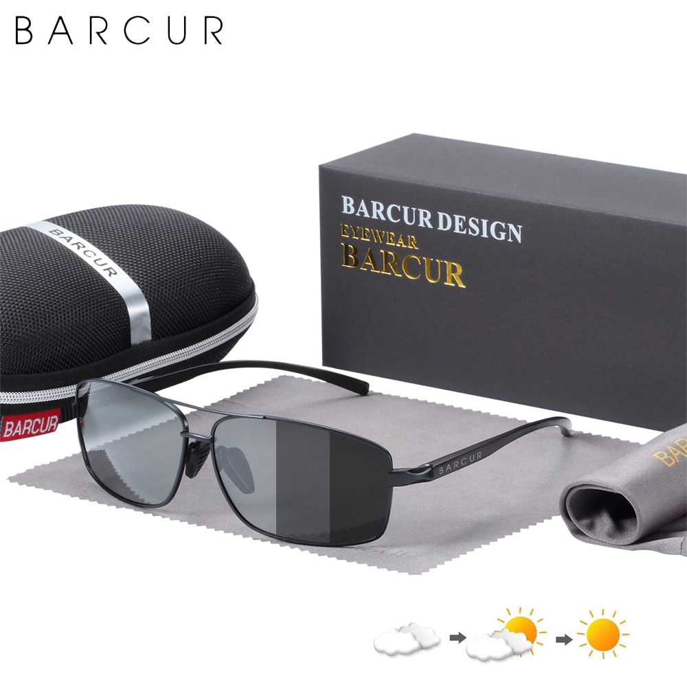 BARCUR-نظارات شمسية مستقطبة للرجال ، عدسات فوتوكرومية للقيادة ، عدسات oculos