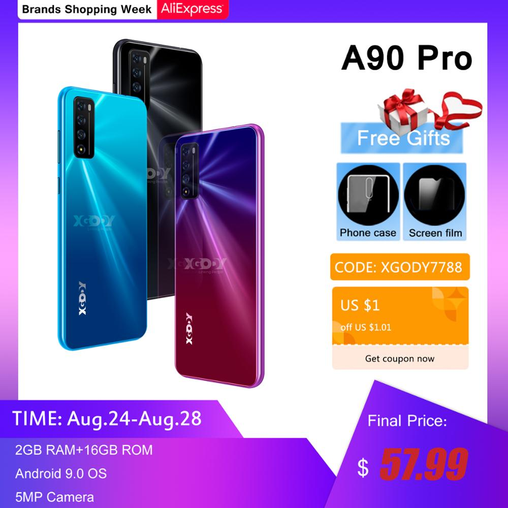 "XGODY A90 Pro 4G Smartphone 6,52 ""199 Android 9,0 2GB RAM 16GB ROM 5MP Cámara Quad Core WiFi teléfonos móviles teléfono celular desbloqueado"