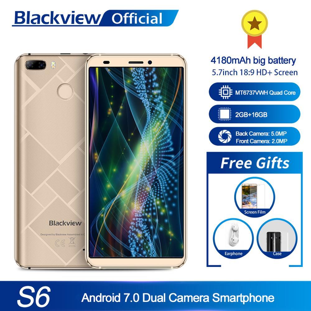 Blackview a S6 teléfono móvil 4180mAh 5,7 inch HD + pantalla teléfono móvil 2GB + 16GB Quad Core smartphone cámara trasera Dual Android 7,0