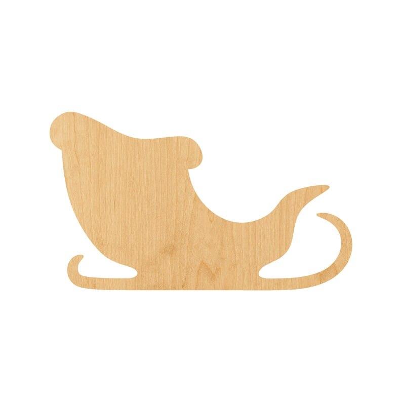 Papai noel trenó laser cortar madeira forma artesanato fornecimento-inacabado