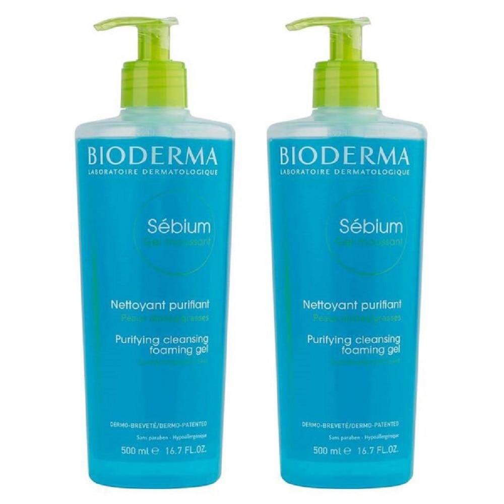 SET OF 2 Bioderma Sebium Purifying Cleanising Foaming Gel moussant 500ml + 500ml Best Quality