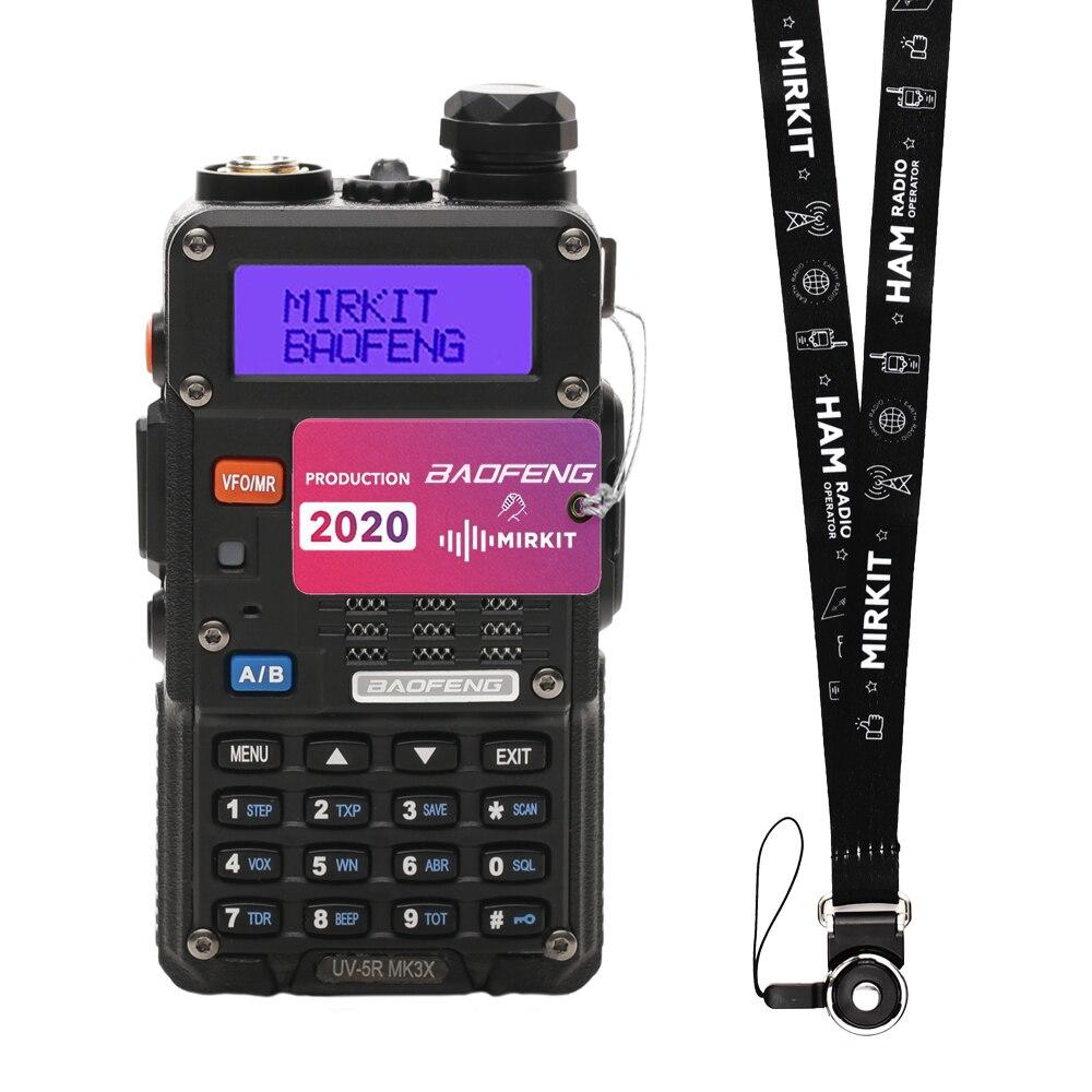 Três banda walkie talkie baofeng uv-5r mk3x, potência 5w, 2100 mah li-ion, três banda vhf, 1.25m, uhf + pulseira de rádio mirki