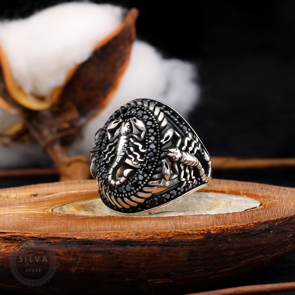 Scorpion Ring 925 Silver Men's. Men's Jewelry Stamped With Silver Stamp 925 All Sizes Are Available