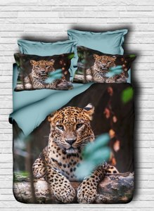 100% Turkish Cotton Animals Beddding Tiger Themed 3D Printed Duvet Cover Set, Made in Turkey