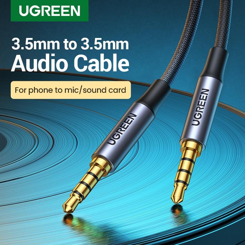 UGREEN-Cable auxiliar macho a macho de 3,5mm, 4 Pole TRRS, 4 conductores,...