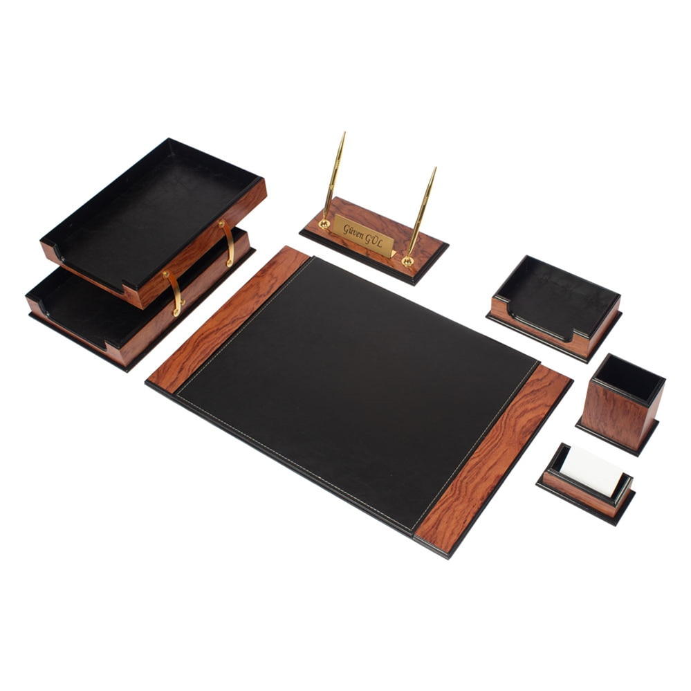 Luxury Wooden&Leather Prestige 8 Pieces Desk Set Desk Organizer Office Accessories Desk Accessories Desk Pad Document Tray