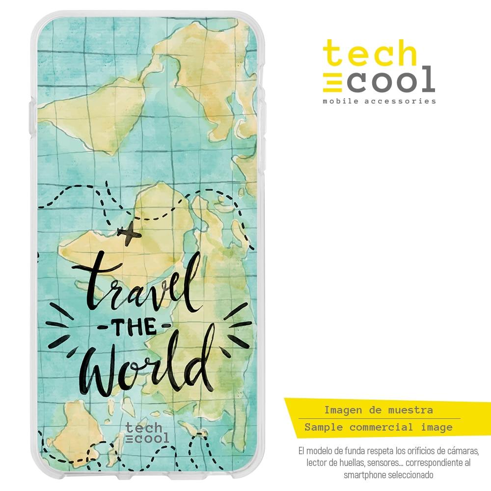 "FunnyTech® Funda Silicona para Asus Zenfone 3 ZE552KL (5,5"") l Mapamundi acuarela Travel the world"