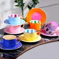 6 piece luxury bone coffee cup set elite creative porcelain cup and saucer ceramic modern design coffee cups