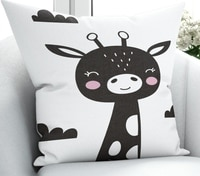 Else Black White Giraffe Clouds Nordec 3D Print Microfiber Throw Pillow Case Cushion Covers Square Hidden Zipper 45x45cm