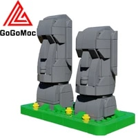 easter island statues model building blocks moc city street view human head stone sketch figure carving bricks toys for children