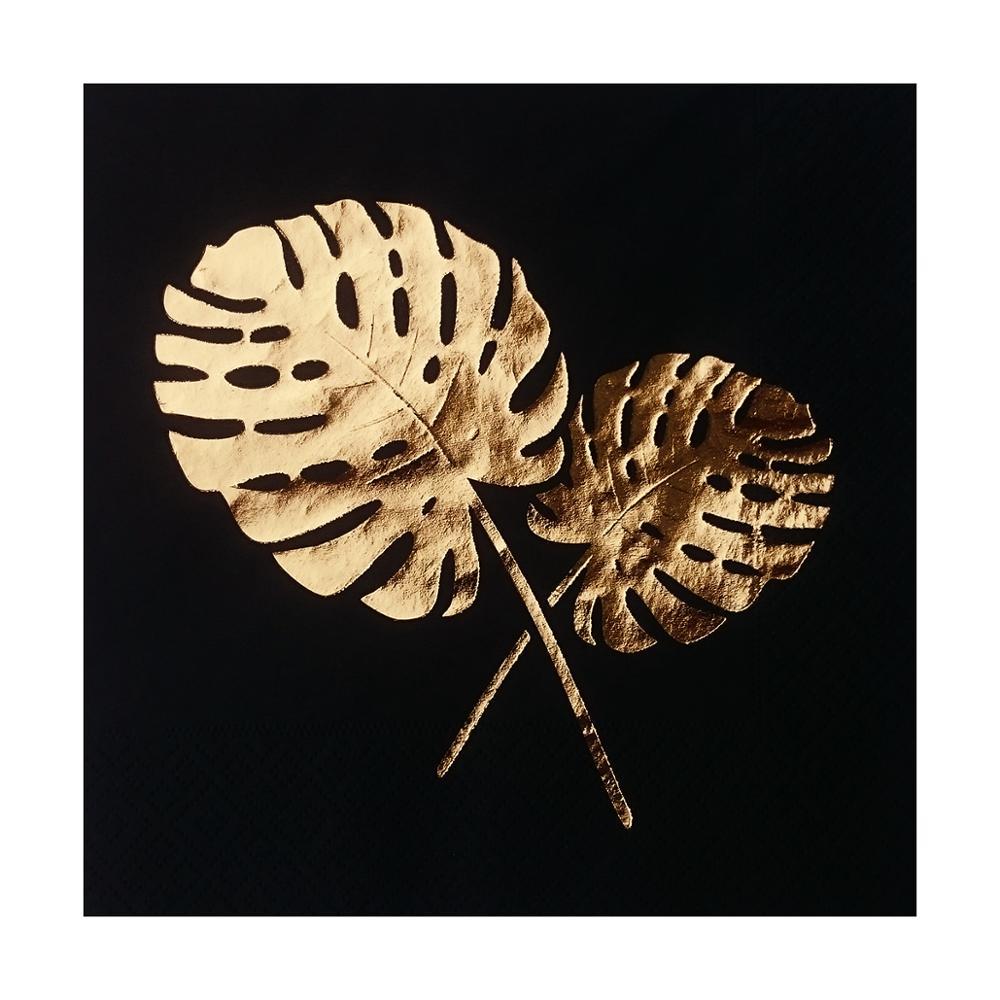 Monstera deixa folha de ouro carimbado preto almoço guardanapo de papel festa de aniversário casamento evento nupcial chá de fraldas 16 pçs 33x33 cm