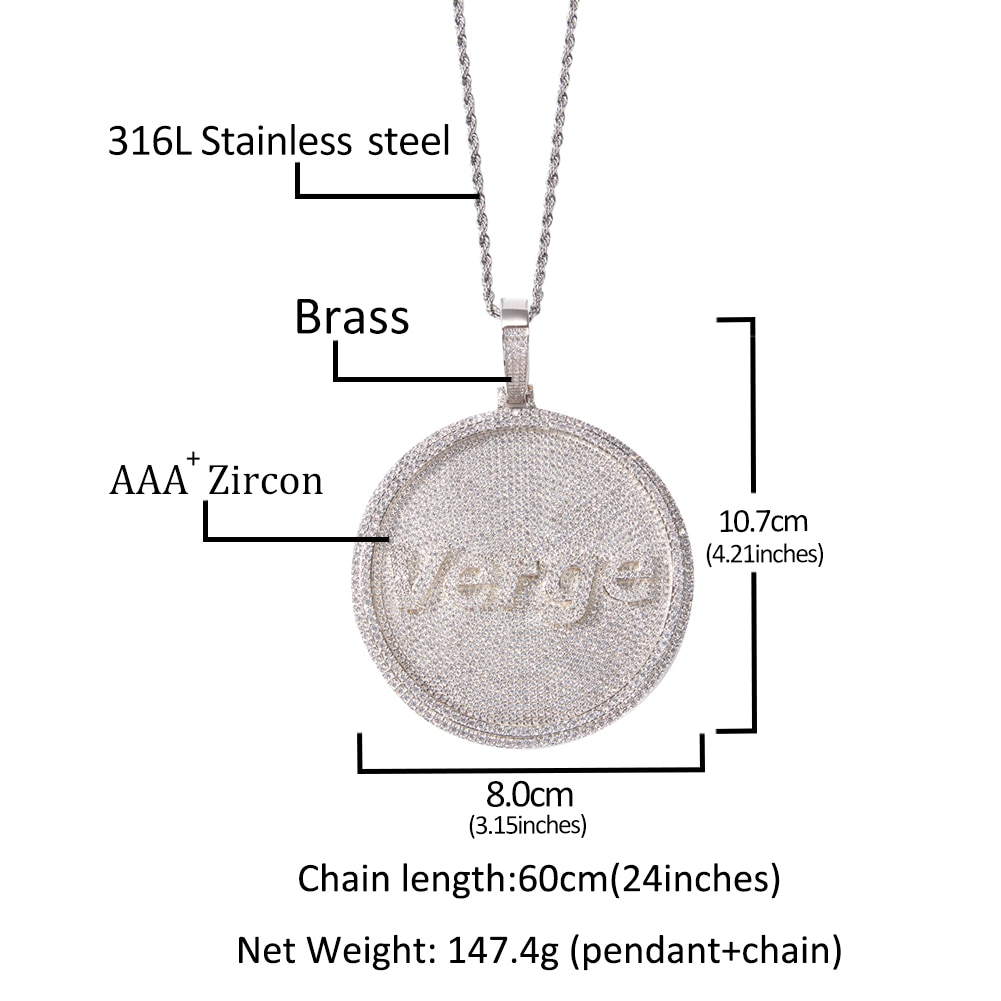 THE BLING KING Iced Out Round Custom Font Letter/Logo/Symbol Pendant Necklace Paved Cubic Zircon Men Women Hiphop Jewelry
