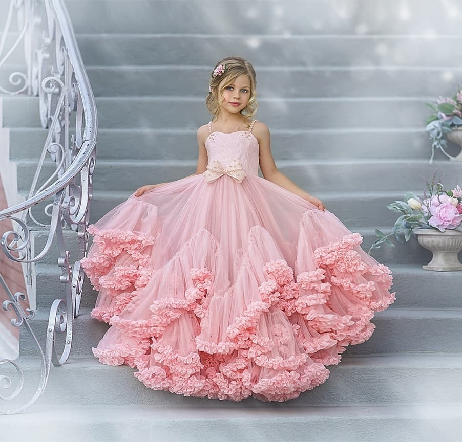 elegant flower girl dress for wedding kids sleeveless lace tulle pageant ball gowns long princess dresses girls party dresses Pink Princess Ball Gowns Wedding  Ruffle  Dresses for Girls Party Flower Girl Dresses Sleeveless Prom dress