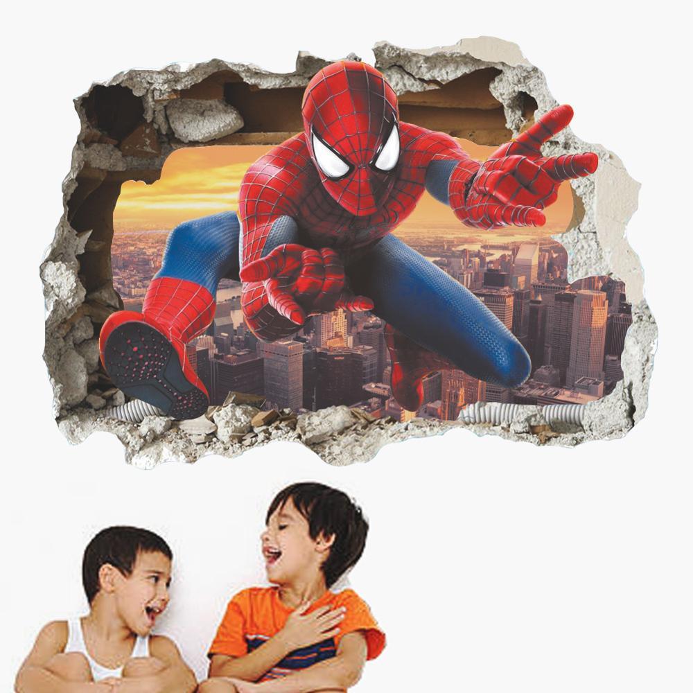 Dibujos animados héroe urbano Spiderman pegatinas de pared ventana agujero araña papel tapiz de seda Mural fresco chicos habitación decoración estética